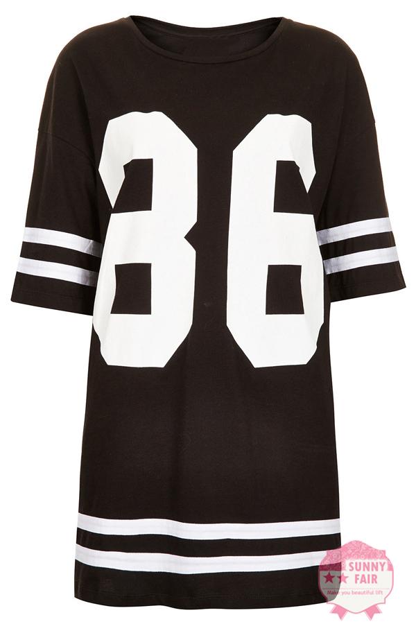 New Womens Baggy Oversized American Baseball 86 Print Varsity Celeb T Shirt Top   eBay