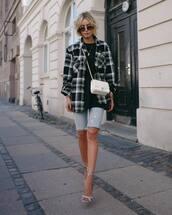 checkered,checkered shirt,oversized,sunglasses,denim shorts,high heel sandals