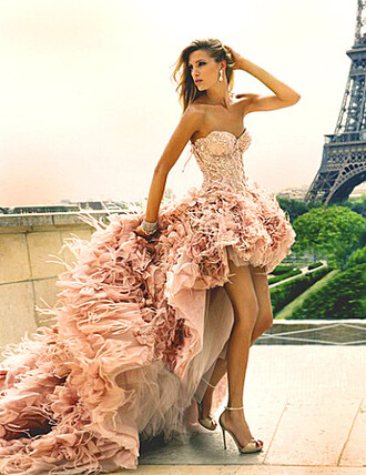 dress rose paris long lovely pepa high-low dresses pink dress style cool sweetheart dresses roses party party dress fashion gorgeous sexy dress sequin dress matric dance dress prom dress wedding dress
