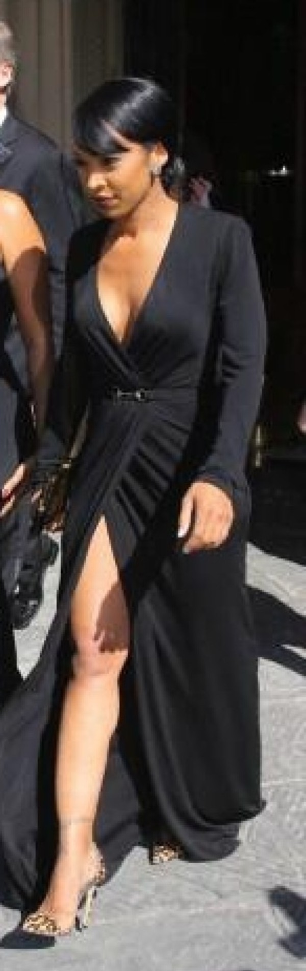 dress black dress thigh slit plunge neckline