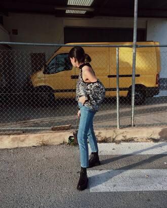 top tumblr sequins sequin blouse cut-out cut out shoulder cut-out shoulder top denim jeans blue jeans boots black boots flat boots
