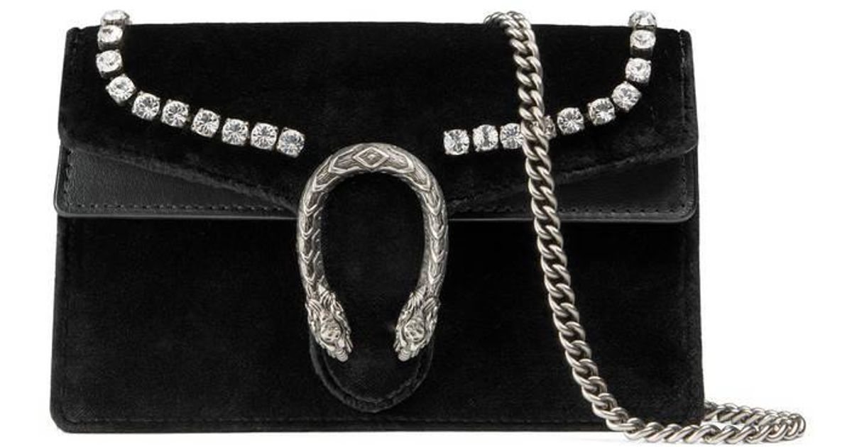 d2f3eeea4 Gucci - Black Dionysus Suede Super Mini Bag With Crystals - Lyst
