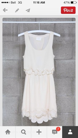 dress white dress scalloped dress beige dress cream dress