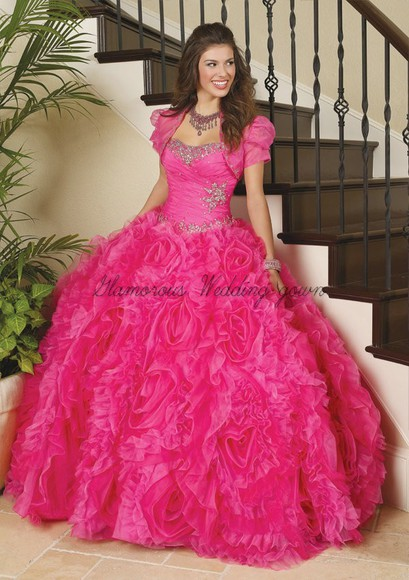 ball gown shirt fuchsia prom dresses tiered princess prom dresses quinceanera dreses long organza dress for prom and quinceanera