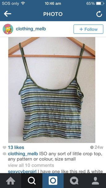 top crop tops stripes singlet vintage