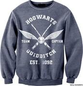 sweater,harry potter,sweatshirt,hogwarts,quidditch,grey