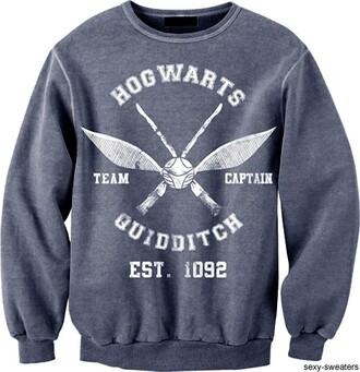 sweater harry potter sweatshirt hogwarts quidditch grey