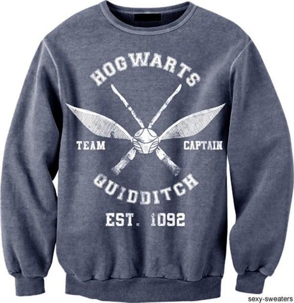 sweater harry potter sweatshirt hogwarts quidditch grey