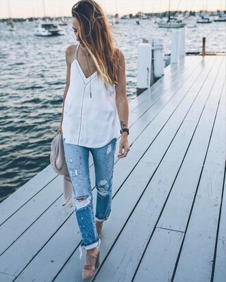 top tumblr white top spaghetti strap necklace gold necklace jewels jewelry gold jewelry denim jeans blue jeans ripped jeans mules high heels heels suede long hair black watch watch