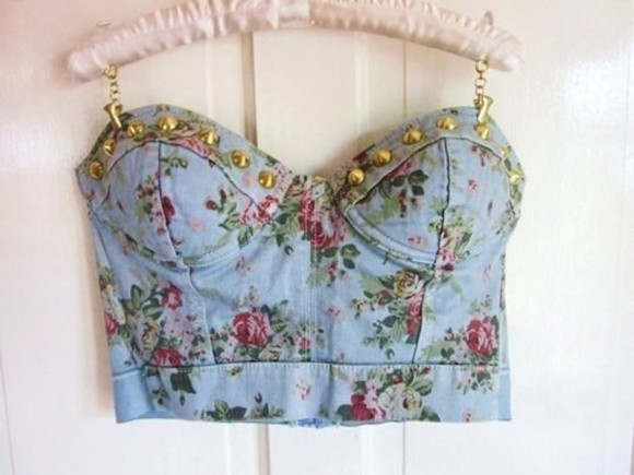 corset top studs shirt crop tops denim floral corset top floral tank top crop tops blue flowers cute summer bag