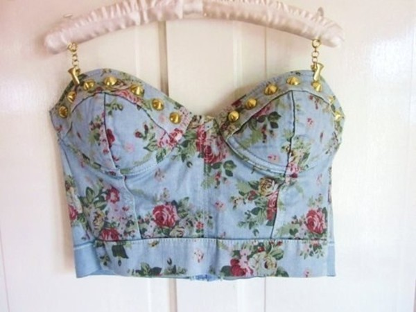 tank top crop tops corset top blue flowers cute summer studs bag underwear shirt jeans crop tops floral corset top floral floral tank top top strapless t-shirt crop tops bralette