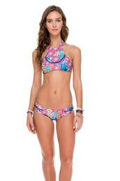 swimwear,stitched side detail,moderate coverage bottom,seamless,luli fama,bottoms,top,cute top,high neck style top,laced up back