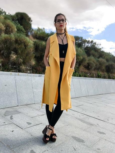 1364756ff0b77 coat sheinside shein sheinaddict sheinlove vest vest top yellow yellow coat  mustard fashion fashion inspo blogger