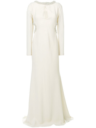 gown cut-out women spandex beaded white silk dress