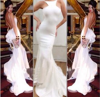 dress white mermaid prom dress white dress gown evening dress open back dresses open back prom dress ruffles mermaid dresses skin tight floor length prom