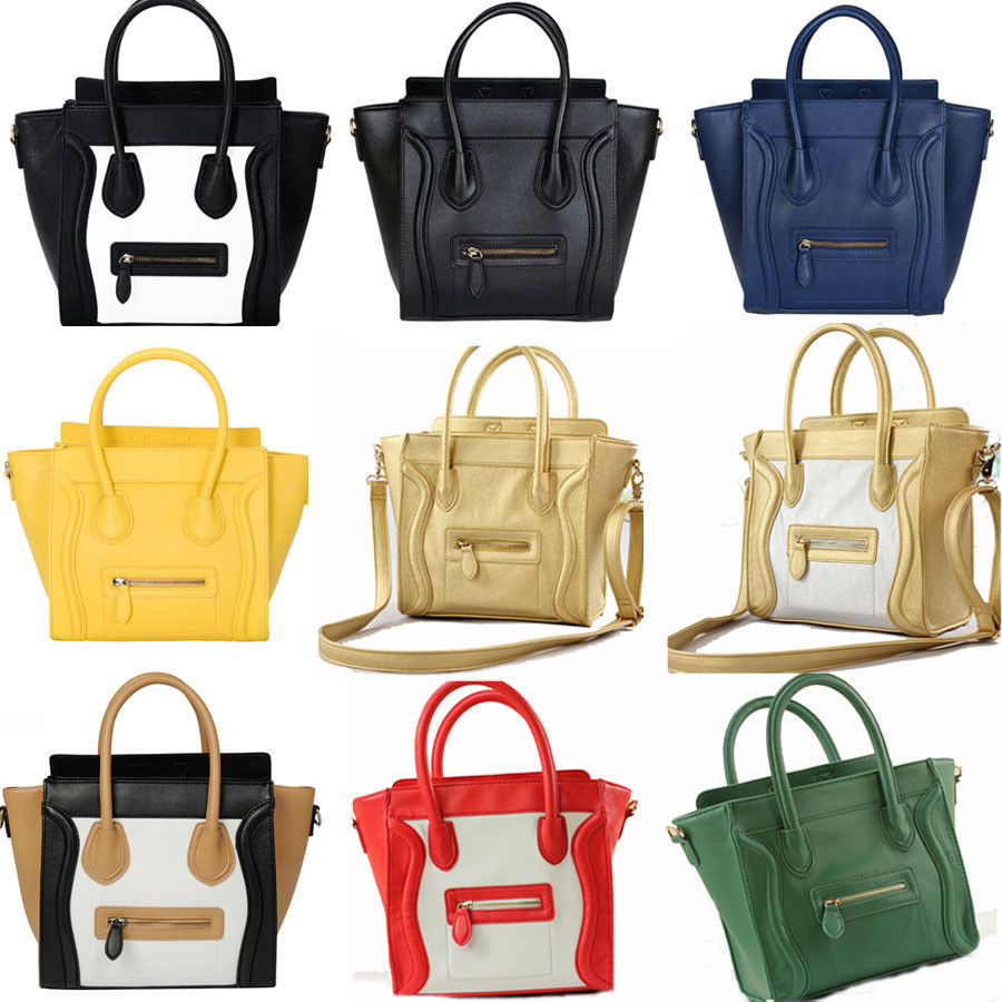 Women's Designer Leather Style Celebrity Tote Bag Smile Shoulder Satchel Handbag