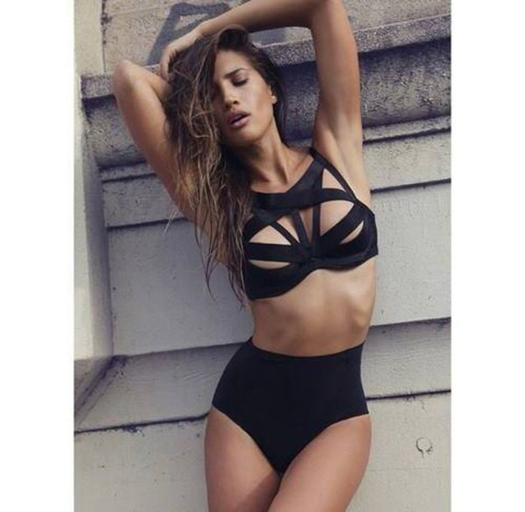 swimwear black bikini cut out bikini high waisted bikini strappy bikini bralette crop tops