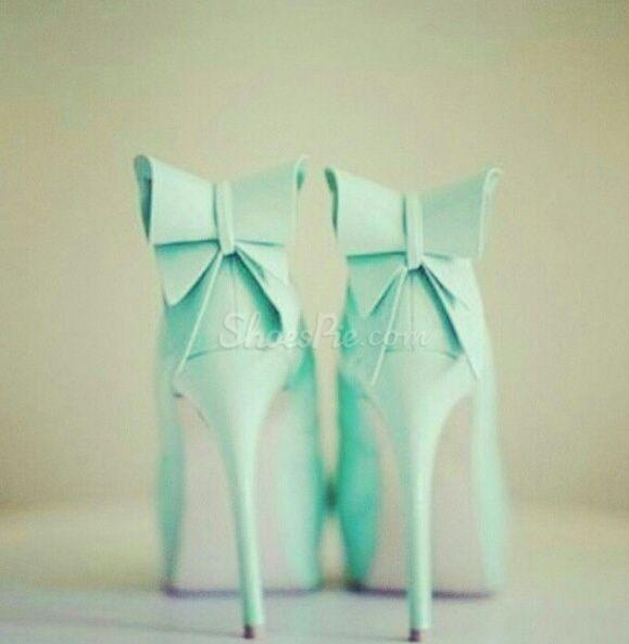 Refreshing Little Green Platform Stiletto Heels with Bowtie