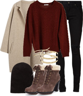 shoes coat ripped jeans black hat jersey heels high heels boots winter outfits jeans