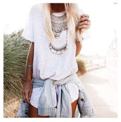 jewelry,necklace,bracelets,denim,romper,white romper two piece,top,white top,jewels,silver,boho chic,boho jewelry,boho jewlery,hippie,hippie jewelry,silver necklace,coachella,rings and tings,denim jacket,jean jackets,style,summer top,summer outfits,outfit,summer romper,t-shirt,coin necklace