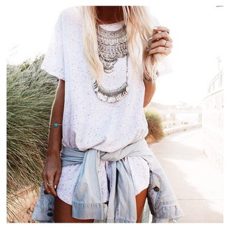 jewelry necklace bracelets denim romper white romper two piece top white top jewels silver boho chic boho jewelry boho jewlery hippie hippie jewelry silver necklace coachella rings and tings denim jacket jean jackets style summer top summer outfits outfit summer romper t-shirt coin necklace