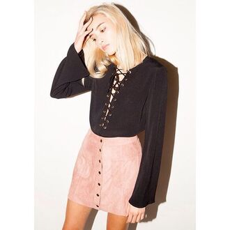 top cotton candy la bell sleeves lace up top lace up black lace top