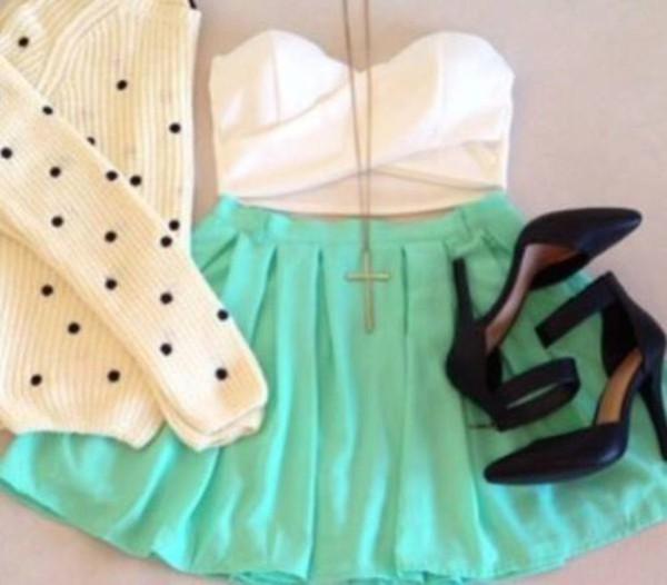 skirt cute skirt necklace heels top sweater lovely top