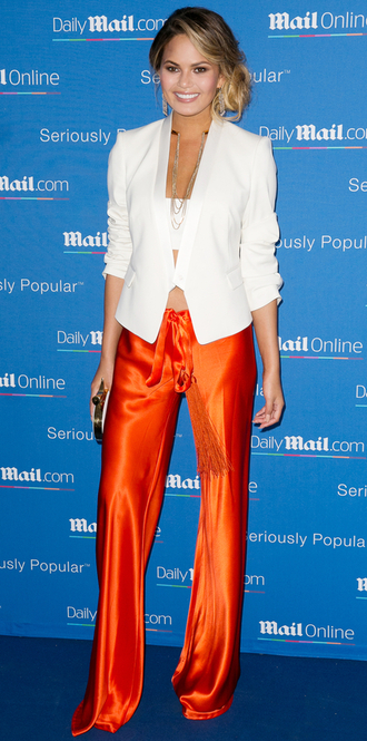 pants top blazer red pants chrissy teigen