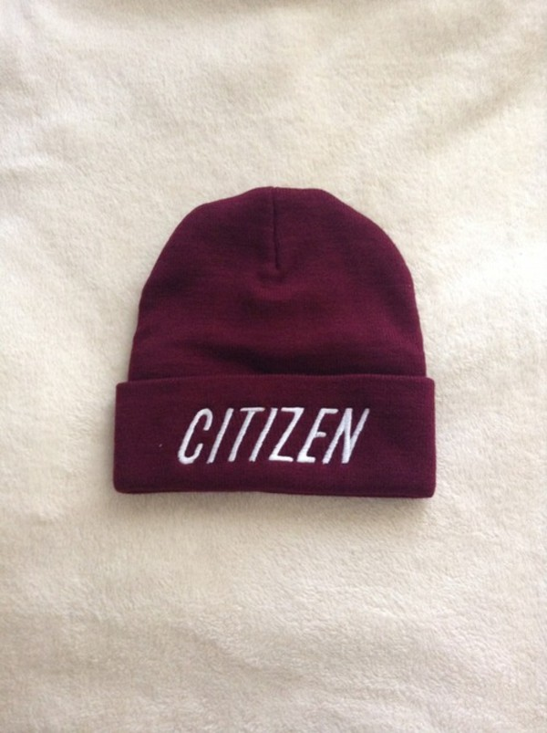 hat citizen runforcoverrecords beanie citizen youth young states pop punk merch burgundy swag dope