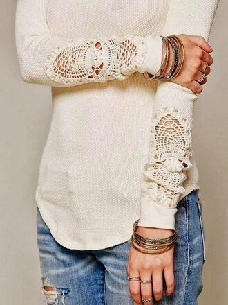 shirt jeans jewels sweater knitted sweater fall outfits cute blouse lace shirt lace detail lace white lace long sleeve shirt top detail white fancy winter outfits spring pretty perfect comfy crotchet sleeved jumper cream crochet lace sweater clothes beautifull cozy style country