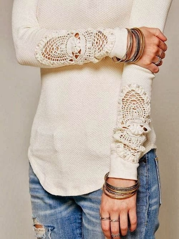 blouse sweater white shirt jeans jewels knitted sweater fall outfits cute lace shirt lace detail lace white lace long sleeve shirt top detail fancy winter outfits spring pretty perfect comfy crotchet sleeved jumper cream crochet lace sweater boho knitwear beige clothes beautifull knitted sweater cozy style country white sweater