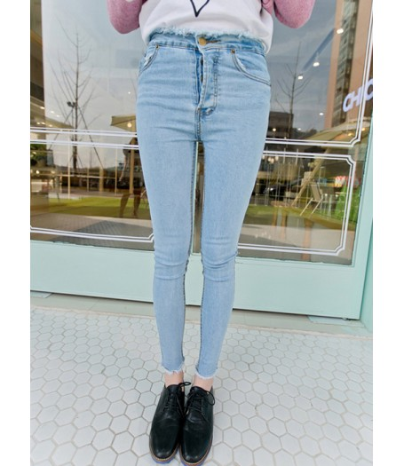 Light Blue Denim Frayed Skinny Jeans