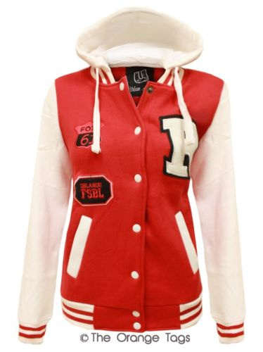 LADIES R VARSITY BASEBALL BOMBER HOODIE WOMENS POCKETS BUTTONED JACKET TOP 8-14 | eBay