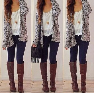 jacket cute spring cool spring spring outfits fall outfits boots gray white shirt white brown meshed cadrigan pretty sweater gold necklace black purse shoes