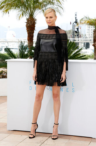 dress fringe charlize theron cannes sandals