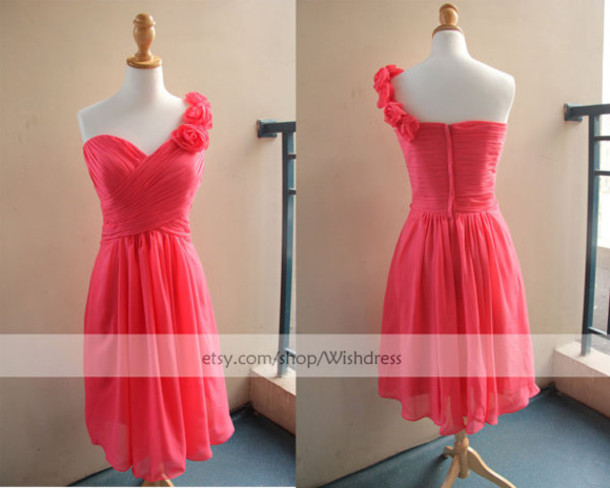 Dress: one shoulder bridesmaid dress, watermelon bridesmaid ...