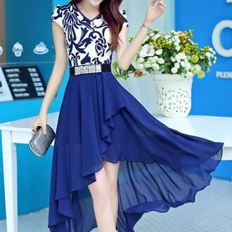 high-low hemline chiffon dress dress blue chiffon asymmetrical