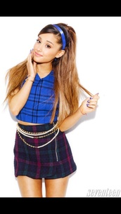 ariana grande,skirt,tartan,cute,cute dress,make-up,blue dress,blue skirt,blue shirt,blouse,t-shirt,shorts,shirt,band t-shirt,jewels,hair bow,nails,ring,ripped jeans,top