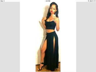 skirt black skirt black tank top black heels stilettos dress maxi skirt style two piece dress set crop tops slit dress tan trendy sexy two-piece black party dress rose wholesale set bodycon instagram dope double slit skirt long skirt