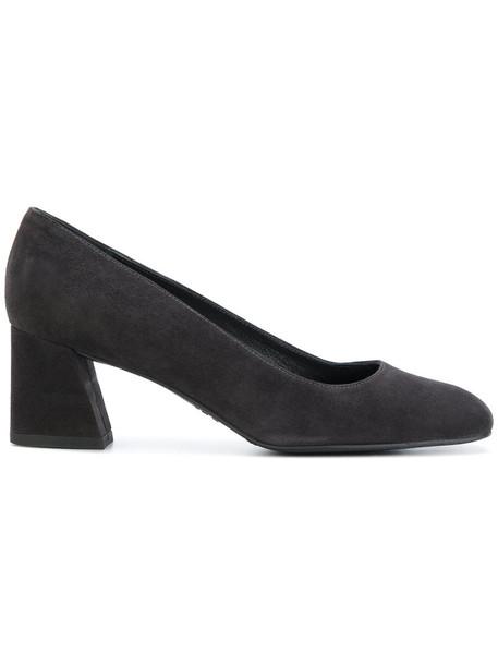 heel chunky heel women pumps leather black shoes