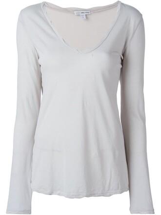 t-shirt shirt v neck grey top