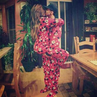 underwear pajamas onesie red mickey mouse cute one piece pink minnie and mickey