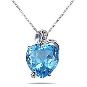 Amazon.com: 3.00 carat swiss blue topaz and diamond heart pendant in .925 sterling silver: blue topaz necklace: jewelry