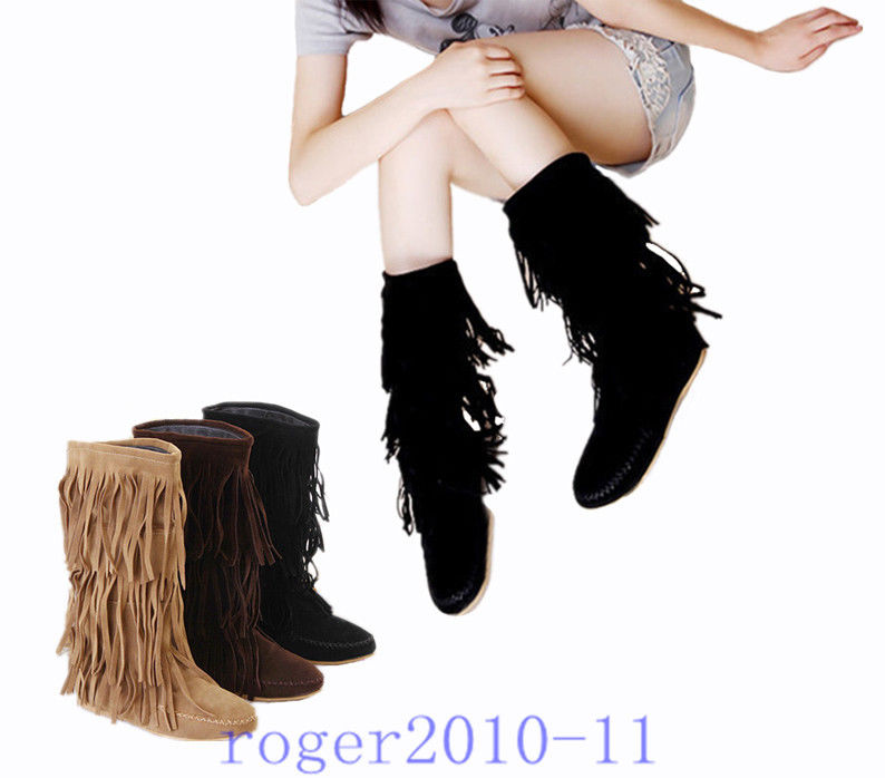 Trendy Women's Mid Calf Tassels Boots Flat Heel Shoes Fringes US All Size G621 | eBay