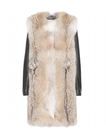 Fur coat with leather sleeves ♦ 001124 ∫ mytheresa.com