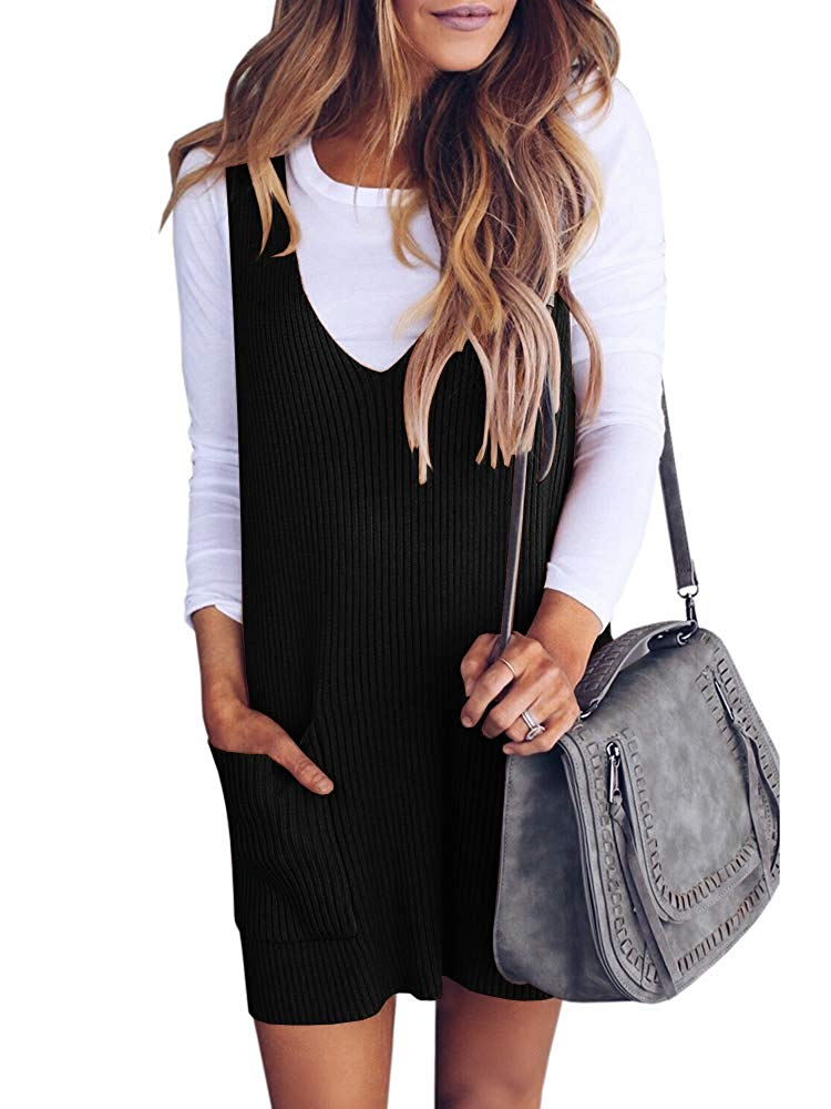 Saodimallsu Womens Racerback Tank Sweater Dresses Fall Ribbed Knit Loose V Neck Dress Pockets at Amazon Women's Clothing store