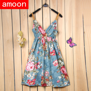 Amoon / Free Size / Women 2014 New Spring Summer Autumn Casual Pretty Floral Flower Print V Neck Dress /14 Colors /Cotton Strap-in Dresses from Apparel & Accessories on Aliexpress.com