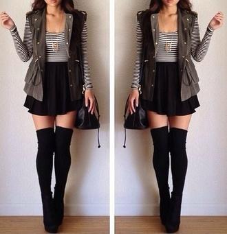 t-shirt stripes black and white stripes striped shirt long sleeve skirt socks shoes coat
