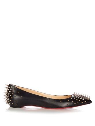 embellished flats leather flats leather black shoes