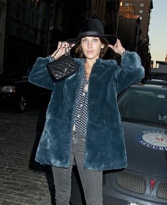 alexa chung hat bag coat